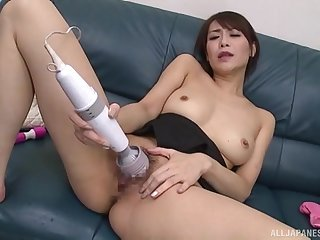 Japanese plant her new toys in a seductive home solo