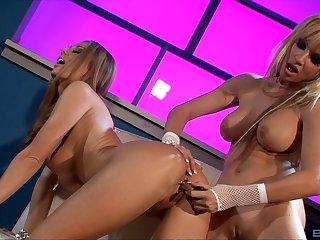 Blonde MILFs Anita Dark and Angie Savage playing with lovemaking toys