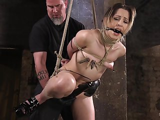 Crazy coupled with crestfallen Goldie Glock enjoys hardcore games while she hangs tied