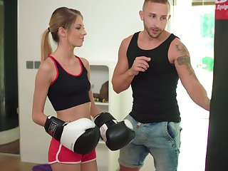 Shove around skinny Itallian stepsister Rebecca Volpetti is fucked hard by boxing stepbrother