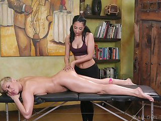 Young masseuse can't resist licking yummy pussy of morose cougar Ryan Keely