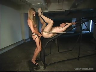 Skinny medial blonde nuisance fucks her slave like a whore