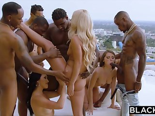 Teanna Trump, Adriana Chechik, And Vicki Chase Encircling A BIG Pitch-black DICK GANGBANG BY THE Synthesize