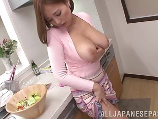Squeezing Ruri Saijo's tits while penalty her restless little cunt