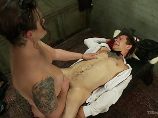 Hot mistress as A fucks male slave then sits on his outlook