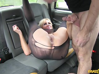 Busty blonde passenger gets her pussy pluged deep overwrought taxi drivers gumshoe