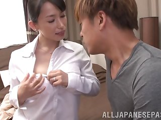 Doting Japanese babe gets her puristic pussy teased with toys then humped