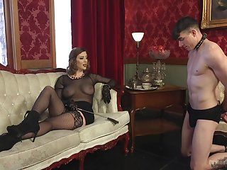 Sex-starved mistress Cherry Torn is fucking submissive  guy and enjoys face sitting