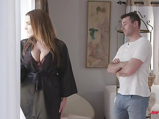 Awesome super huge boobed hooker Natasha Nice treats man anent a titjob