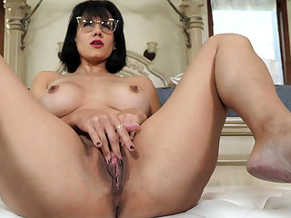 Grown-up stepmother masturbating in law of stepson