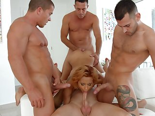A first time straight away this hottie tries gang bang carnal knowledge