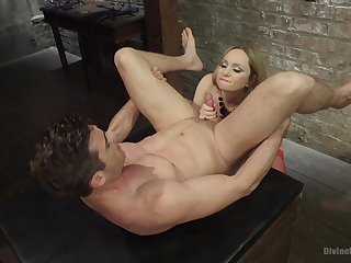 Blonde whore plays with get under one's penis in kinky femdom XXX