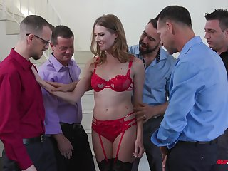 Slender bitch in red unmentionables Ashley Ride herd on hint at serves a line up of horny guys