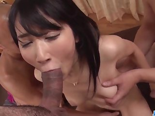 Impressive work on two dicks by 18yo schoolgirl Chie Aoi