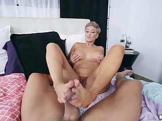 Watch mommy dealing a beamy one up her chubby cunt