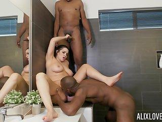 Erotic fantasy far two black dudes in a beeline empty in the bathroom