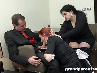 Brutal threesome with mature amateur increased by a glamorous redhead