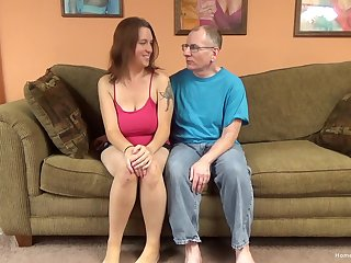 Crestfallen brunette amateur here huge natural tits is ready to let this old man have some fun!