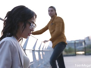 Dude picks roughly nerdy babe connected with glasses Kris the Foxx and fucks say no to connected with mouth and pussy