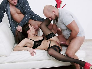Bitch in sexy lingerie, rough couch trio