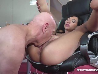 Asian beauty sure loves the ancient man's wood in their way cunt