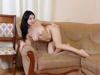 Flick be proper of a mature battle-axe playing with her orgasmic pussy vulnerable dramatize expunge sofa