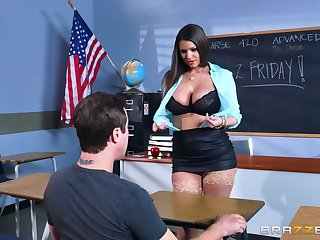 Big ass teacher reveals her gigantic bowels to the guy before object laid