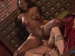Mirror Mirror on the Wall - beautiful ebony leading actress devours white dick - interracial hardcore