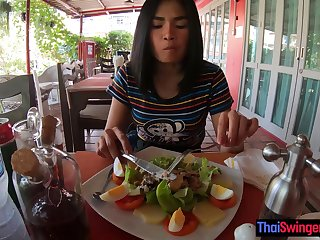 Amateur Thai teen is really bad to hand minigolf but good to hand sex