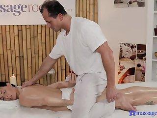 Short Hottie Massages Masseuse's Cock