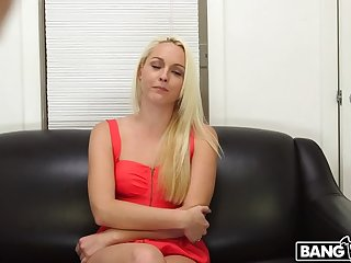 Blonde shoots her first porno and gets a facial