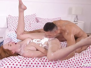Whipped plummy covered Sweetmeats Red gets her pussy pounded hardcore in piledriver GP1269