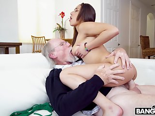 Sweetie is vitalized enough to make her grandpa fall exhausted