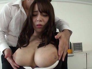 Domineer secretary drops on her knees to pleasure 2 coworkers
