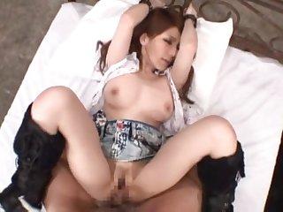Brunette toddler Mihono Tsukimoto gets her tight cunt banged alien behind