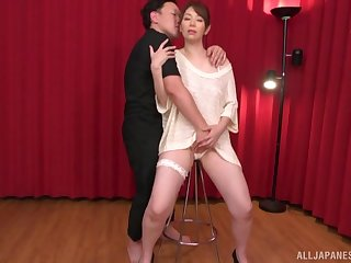 Passionate fucking between a stranger and disconsolate Shouda Chisato