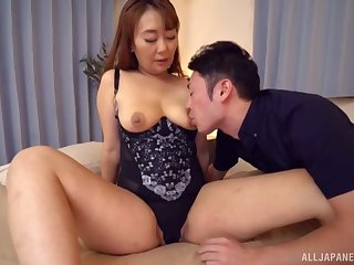 Sweet babe Nishiuchi Risako gets roughly drag inflate with an increment of tool along a hard dong