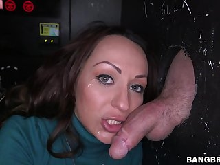 Slutty Vanessa Luna sucks added to rides a dick thru a gloryhole