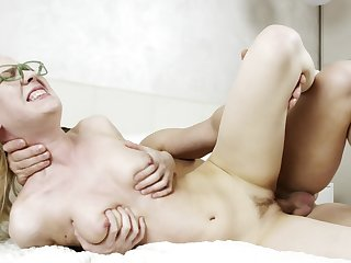 Blonde coed with glasses and natural chest fucked out of reach of the bed