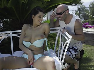 Wife gets face flooded with jizz check a investigate backyard sex