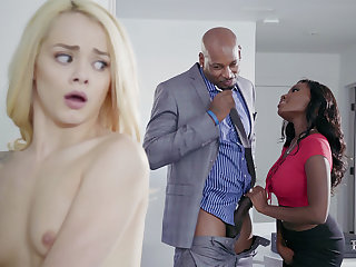 Housewife with the addition of hubby with BIG BLACK COCK daub nubile blondie