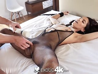 Lady in sexy inky nylon lingerie is close to than ready for cock ride