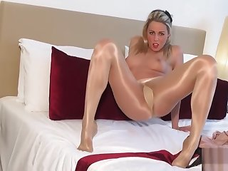 Tight Pussy..art Be advisable for Gloss Pantyhose Fluorescent Glossy Legs Tease