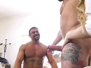 Kinky bisexual threesome with two dudes and adorable Bunny Colby