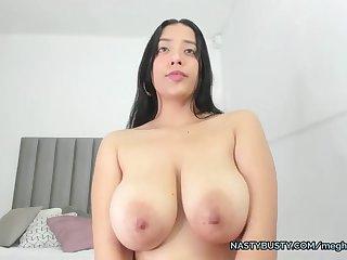 Meghan huge boobs sucking herself