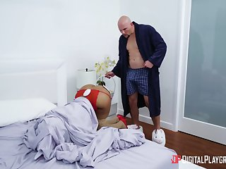 Opprobrious ebony Moriah Mills gets fucked wearing a bunny get-up