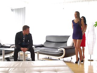 Blowjob, Brunette, Cum, Cum in mouth, Cumshot, Lick, Pussy, Riding, Shave, Shaved pussy, Threesome, Facesitting, Ffm, Legs, Long hair, Moaning, Thong, Trimmed pussy,